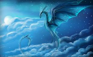 Blue dragon in sky