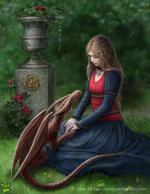 Girl & red dragon