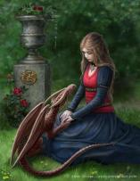 Girl & red dragon