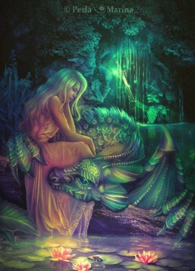 Girl with dragon on lap