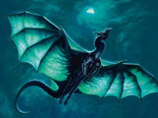 Green flying dragon